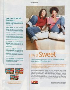 Ad for Dole fruit parfaits with two girls laughing on the couch