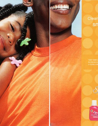 Center page ad for Tide in Ebony and Essence Magazines