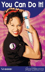 Good Vibrations ad with woman imitating Rosie the Riveter
